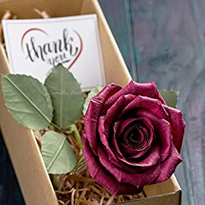 CamelliaBees Realistic Paper Rose in Gift Box Romantic Gift for Her Anniversary Valentine's Day Christmas Mothers Day Birthday Gift, Handmade Paper Ecuador Rose, Burgundy Deep Red 19