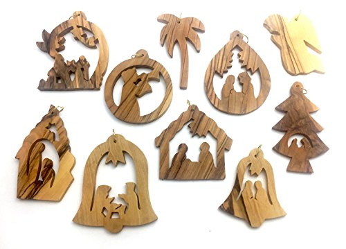 Olive Wood Ornament - Set of 10