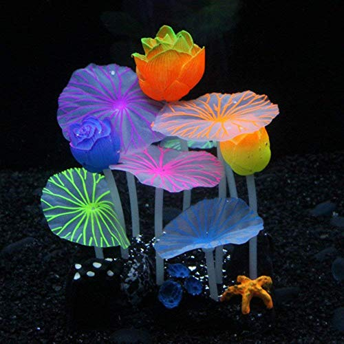 MHS Aquarium Glowing Mushroom Coral Lotus Decorations - Fish Tank Decoration Silicone Ornament,Eco-Friendly Glowing Artificia Aquarium Décor for Freshwater Saltwater Aquarium (3 Lotus 6 Lotus Leaves)