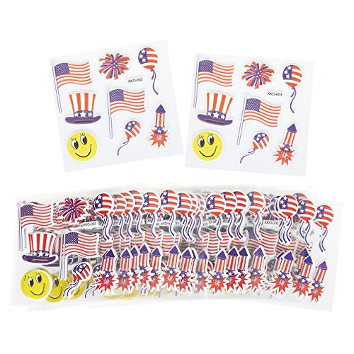 Set of 240 Patriotic American Memorabilia Flag Sticker Sets - USA Flag, Uncle Sam, Fireworks Themed Adhesive Stickers for Independence Day, Labor Day, Veteran