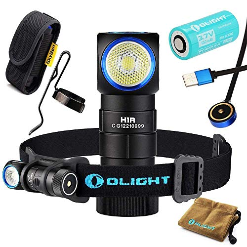 (Olight H1R CREE XM-L2 LED 600 Lumens Rechargeable Headlamps with RCR123A Battery and SKYBEN Holster(Cool)
