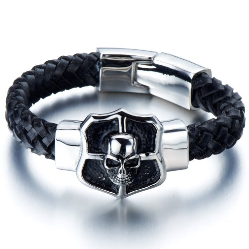 Mens Large Skull Leather Bracelet in Stainless Steel and Genuine Leather Straps 9 Inches Gothic Style - Pirates Mens Leather