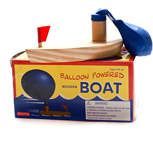 Amyove Bath Toys Baby Bath Toys Balloon Powered Wooden Boat in Bathtub Classic Funny Game Bath Boat Toys for Children
