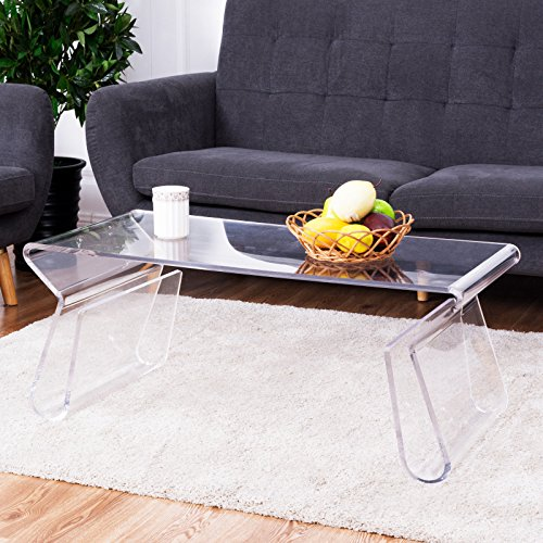 Tangkula Acrylic Coffee Table 38 inch Clear Modern Accent Glam with Integrated Magazine Rack End Table Tea - Clear Coffee Table Acrylic