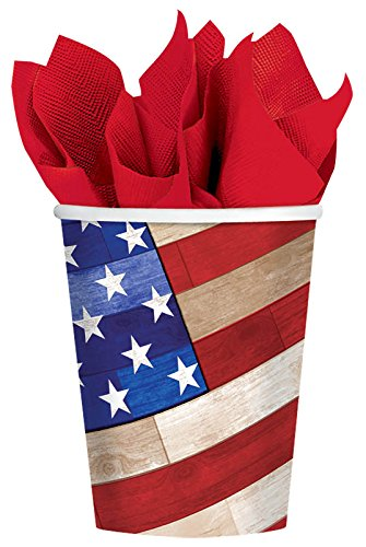 Amscan Old Glory Hot or Cold Drink Paper Cups, Multicolor, 9 oz