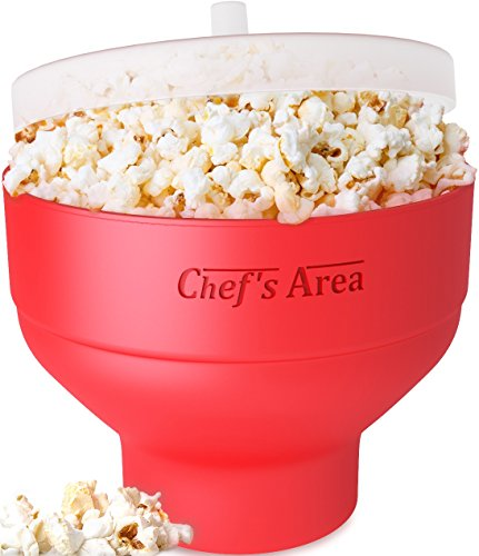 Silicone Microwave Popcorn Popper / Popcorn Maker, Red Collapsible Popcorn Bowl with lid for home - BPA free - for Healthy Homemade Butter & Oil-Free Recipes - by Chef's - Cinema Compare Prices