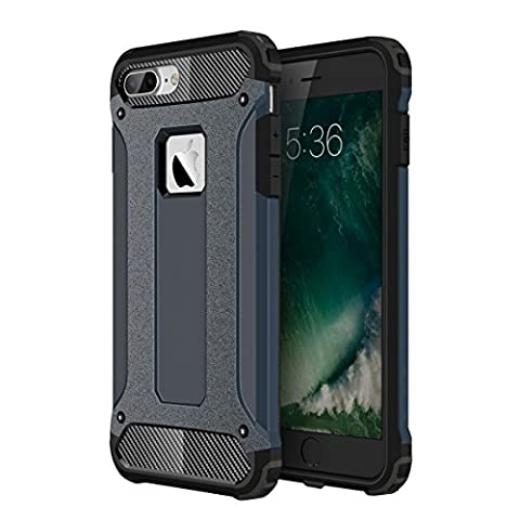 iPhone 7 Plus Shockproof Case, Mpaltor Heavy Duty Shock Resistant PC + TPU 2 in 1 Armor Defender Back Protector Case Cover for iPhone 7 Plus 5.5 inch - Navy (Dark Layers Volume 2 Volume 1)