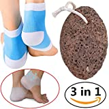 Natural Pumice Stone Moisturizing Socks Gel Back Heel Sleeves, Foot File Tool Callus Remover Blue