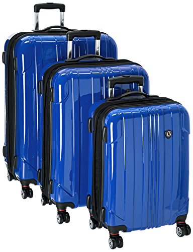 Traveler's Choice Sedona 8-Wheels Polycarbonate Hardside Expandable Spinner 3-Piece Luggage Set, Blue (21