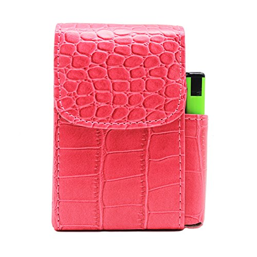 (Boshiho PU Leather Cigarette Case with Lighter Holder Tobacco Pouch Best Gift for Men Women (Hot Pink))