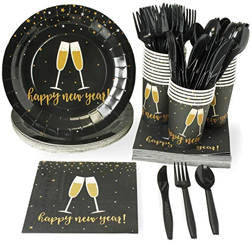 New Year Disposable Dinnerware Set - Serves 24 - Festive Holiday Party Supplies, Champagne Toast in Black and Gold Design, Includes Plastic Knives, Spoons, Forks, Paper Plates, Napkins, Cups
