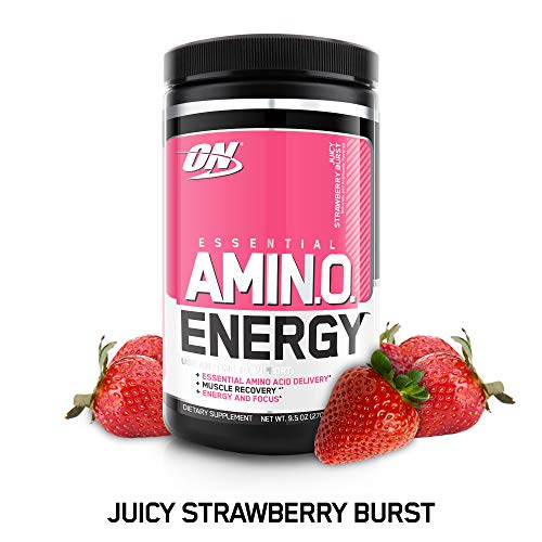 (OPTIMUM NUTRITION ESSENTIAL AMINO ENERGY, Juicy Strawberry Burst, Keto Friendly Preworkout and Essential Amino Acids with Green Tea and Green Coffee Extract, 30)