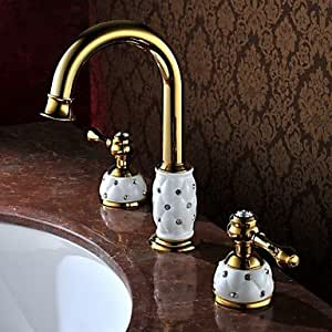 qinxi Antique Ti-PVD Finish Brass Three Hole Two Handle Bathroom Sink Faucet