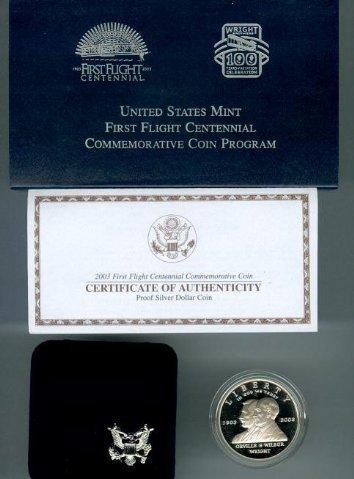 2003 First Flight Centennial Commemorative Proof Silver Dollar W/Box & COA