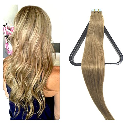 (Mario Hair Tape in Hair Extensions Human Hair Extensions Silky Straight Skin Weft Human Remy Hair)