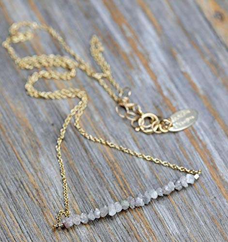 Raw Rough Genuine White Diamond Bar- April Birthstone Necklace- Mother's Da Gift Idea