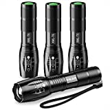 Sporting Goods : Pack of 4 Tactical Flashlights, BYBLIGHT 800 Lumen Ultra Bright XML-T6 LED Flashlight with 5 Modes, Zoomable, Waterproof, Handheld Small Flashlight for Outdoor Camping, Fishing and Hunting