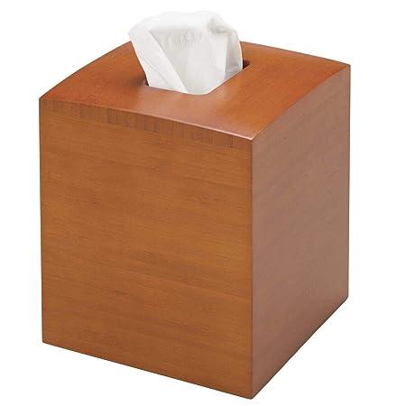 mDesign Dispensador de pañuelos - Elegantes fundas para cajas de pañuelos cuadradas - Moderna caja para pañuelos de papel de bambú, perfecta para baño, cocina o despacho - marrón claro: Amazon.es: Hogar