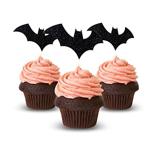 Bat Man Cupcake Topper 12Pack Decoration Cake glitter Foamy black]()