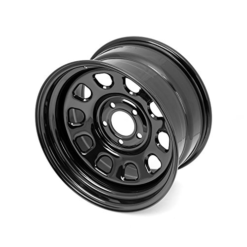 Outland 391550070 This black D-window steel wheel from Outland Automotive fits 07-16 Jeep Wrangler JK. It is 17 x9 inches with a 5x5 inch bolt pattern. Floor Liner D Window Wheel 17x9 Black 5x5