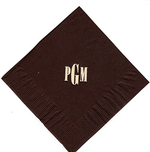 Monogrammed Cocktail Napkins - 100 Monogrammed Beverage Cocktail Party Napkins