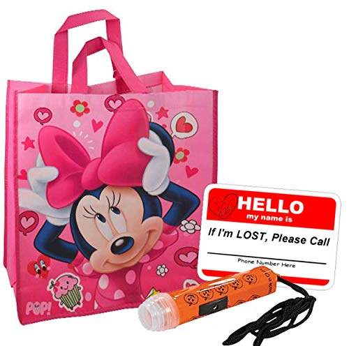 Minnie Mouse Happy Halloween Large Sized Resuable Trick Treat Candy Loot Bag!! Plus Bonus Safety First Sticker & Mini Halloween Flashlight Necklace!