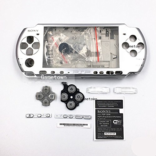 - New Replacement Sony PSP 3000 Console Full Housing Shell Cover with Button Set -Silver.
