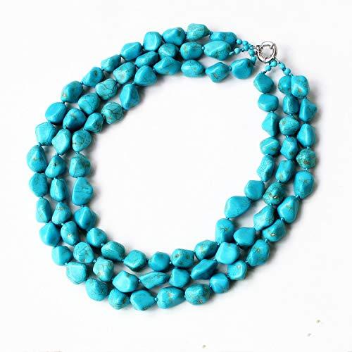 - Blue Turquoise Stone 3 Row Multi Beaded Necklace Chunky Necklace Turquoise Necklace Statement Necklace
