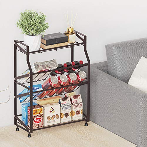 Bathroom Countertop Organizer, iSPECLE Extra Large 4 Tier Spice Rack Organizer Kitchen Countertop Standing Storage Organizer with Adjustable Feet for Tall Seasoning Can Jars (Brown)