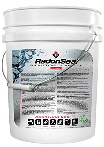 RadonSeal Standard  Deep Penetrating Concrete Sealer 5gal | Basement Waterproofing amp Radon Mitigation Sealer | Seals Concrete Against Water Water Vapor and Radon Gas | Permanent Results