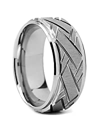 Tungsten Carbide Men's Weave Grooved Pattern Wedding Ring Band, 9mm Sizes 8 to 13