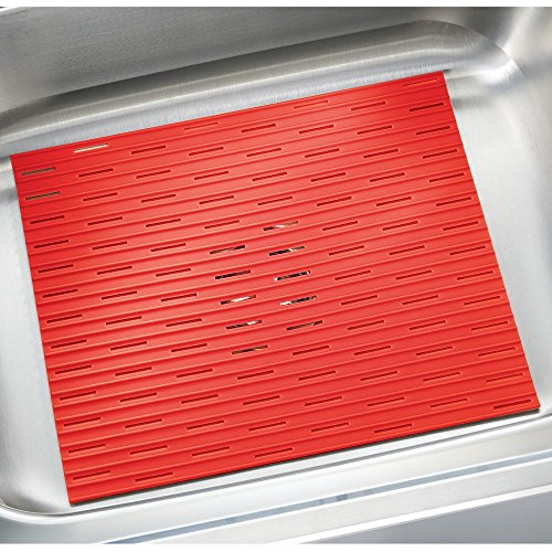 InterDesign Lineo Kitchen Silicone Sink Protector Mat, Large, Red