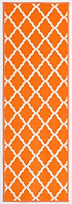 Ottomanson Ottohome Collection Color Contemporary Morrocon Trellis Design Runner Rug with Non-Skid (Non-Slip) Rubber Backing Lattice