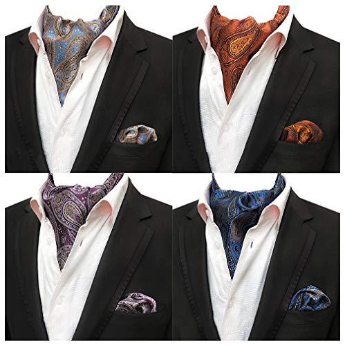Mens 4 Pcs Paisley Cravat Party Ascot Scarf Ties Neckties Pocket Square Set of 4