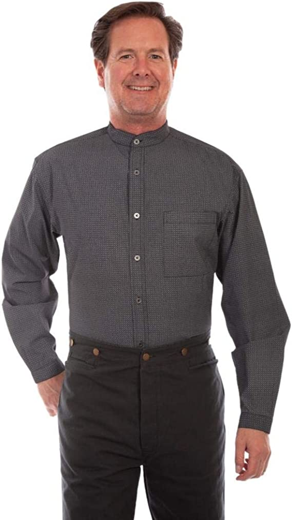 1920s Men's Dress Shirts, Casual Shirts Scully Western Shirt Mens Long Sleeve Print Button Black F0_RW331 $58.75 AT vintagedancer.com
