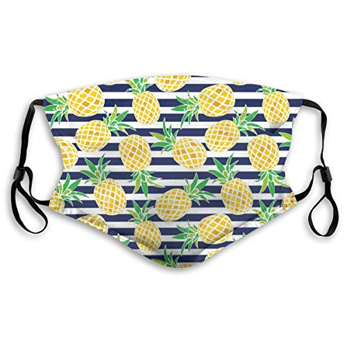 Face Mask Pineapple Dust Mask Washable Reusable Air Pollution Mouth Mask With Replaceable Filter For Kids RespiratorSport Outdoor Activities Working Size S