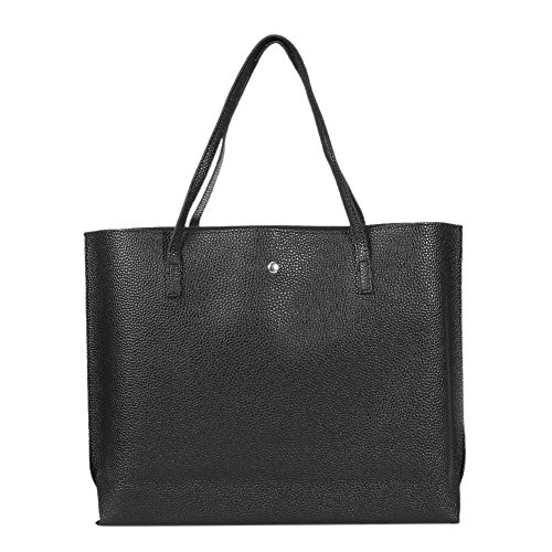 Capacity Tassel Shopping Totes Simple Pure Sling Black Big Handbag Women Leather Domybest 6UnaqT