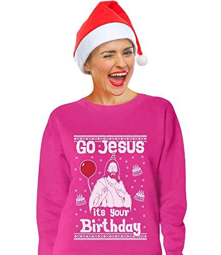 TeeStars - Go Jesus its Your Birthday Ugly Christmas Sweater Women Sweatshirt Small Pink
