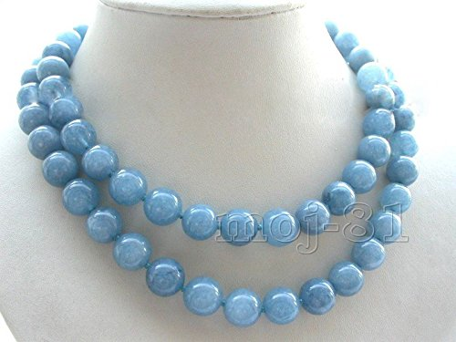 10mm Genuine Natural Blue Aquamarine Round Gemstone Beads Necklace 36