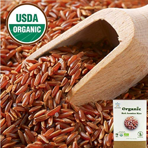 USDA Certified Organic Thai Red Jasmine Rice Unpolished Long Whole Grain Brown Non GMO Gluten Free from Thailand 1 Lb (16 oz)