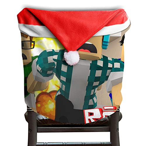 Price comparison product image MCWO GRAY Ro-blox Escape Fire Christmas Chair Back Covers Dining Room Classic Santa Claus Hat Chair Slipcovers Party Holiday Decor