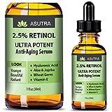 retinol Asutra, Anti-Aging Serum, Retinol, Ultra Potent and Effective Skin-Enhancing, Hyaluronic Acid, Vitamin E, Wheat Germ, Aloe, and Jojoba, One 1 Oz. Bottle