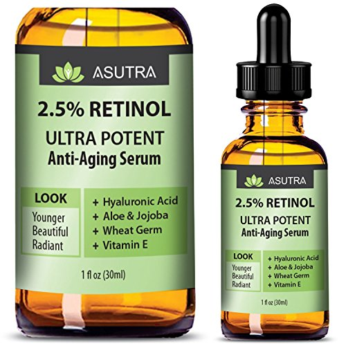 ASUTRA 2.5% RETINOL Anti Aging Serum - ULTRA POTENT & EFFECTIVE/With Hyaluronic Acid, Vitamin E, Wheat Germ, Aloe & Jojoba + FREE E-Book (one 1oz bottle) by ASUTRA