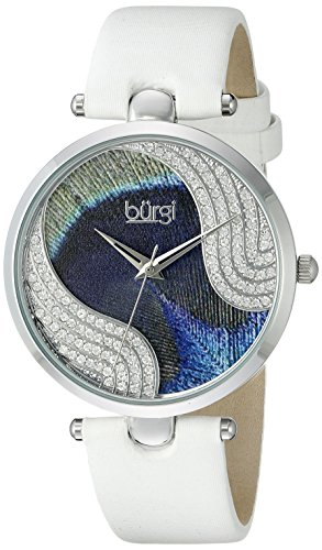 Burgi Women's BUR131WTS Swarovski Crystal Accented Peacock Feather Dial Silver and White Satin over Leather Strap Watch