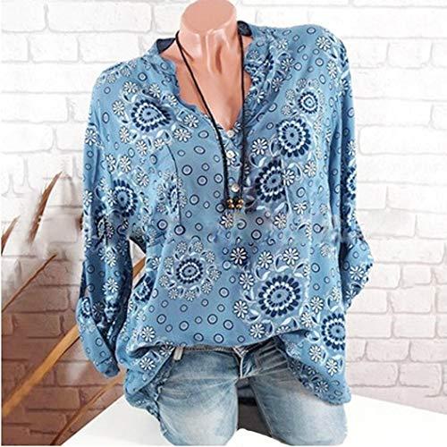 Hiver Shirt Habite Vetement Lin Manche Casual 2 SANFAHSION Tops V Travaille Haut Florale Longue Chemise Femme Col Bleu Tee Automne Basique Chic Mode ffqgTRwXx4