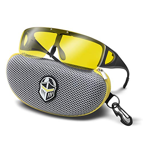 BLUPOND Wrap Around Oversized Sunglasses - Fit Over Prescription Glasses for Women/Men With Flip Up Semi Polarized Yellow Anti Glare Lens - KNIGHT VISOR (Glass Semi Micro)