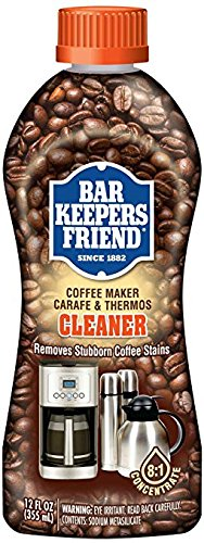 (Bar Keepers Friend Coffee Maker Cleaner (12 oz) - Removes Oily Residue, Tannins and Stains - For Single-Cup and Automatic Drip Coffee Makers and Espresso Machines)