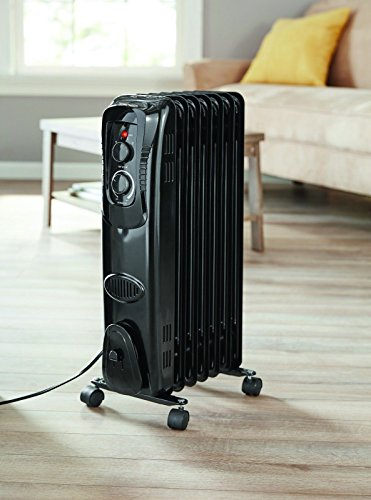 Electric Oil Filled Radiator 1500W Room Space Heater Thermostat Radiant Black Oil Filled Heaters
