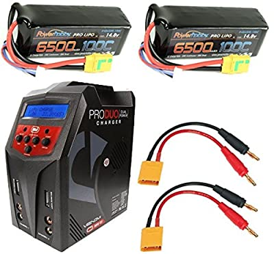 Powerhobby 4S 6500mAh 100C Lipo Battery 2 PACK XT90 w Venom 80W Duo Charger