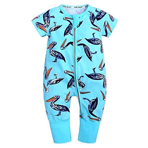 Kids Tales Baby Boys Girls Zipper Short Sleeve Pajama Sleeper Cotton Romper(Size 3M-3T) Boys Short Sleeve Romper